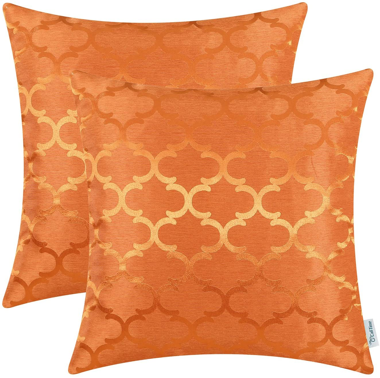 CaliTime Pack of 2 Cushion Covers Throw Pillow Cases Shells for Home Sofa Couch Modern Shining & Dull Contrast Quatrefoil Accent Geometric 20 X 20 Inches Bright Orange