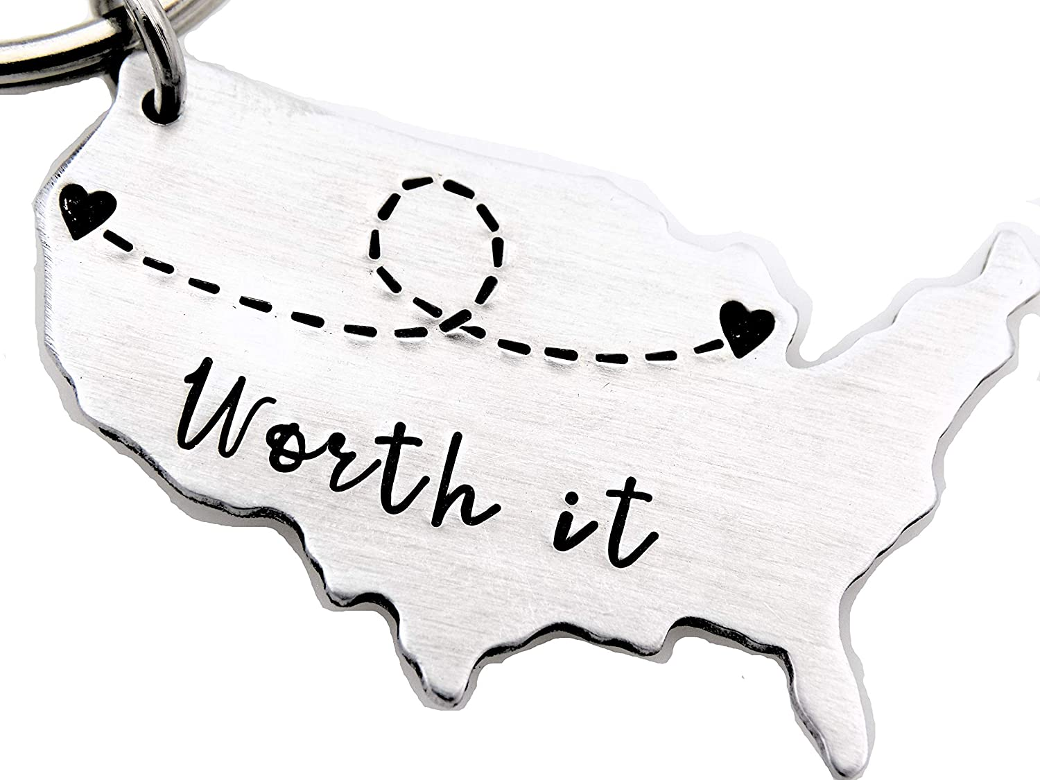 Long distance gift for her or him, Gift for best friend, couples, boyfriend or girlfriend. Handstamped USA map worth it