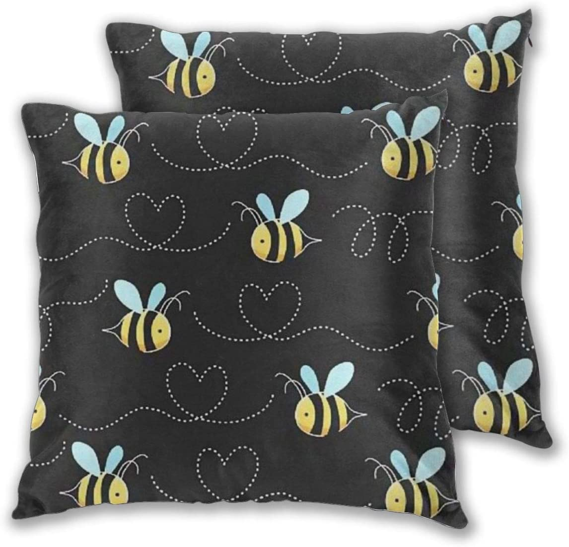 RALANG Pack of 2 Yellow Bumblebee Decorative Square Throw Pillow Covers Set Super Soft Cushion Case for Sofa Bedroom Car 18x18 Inch