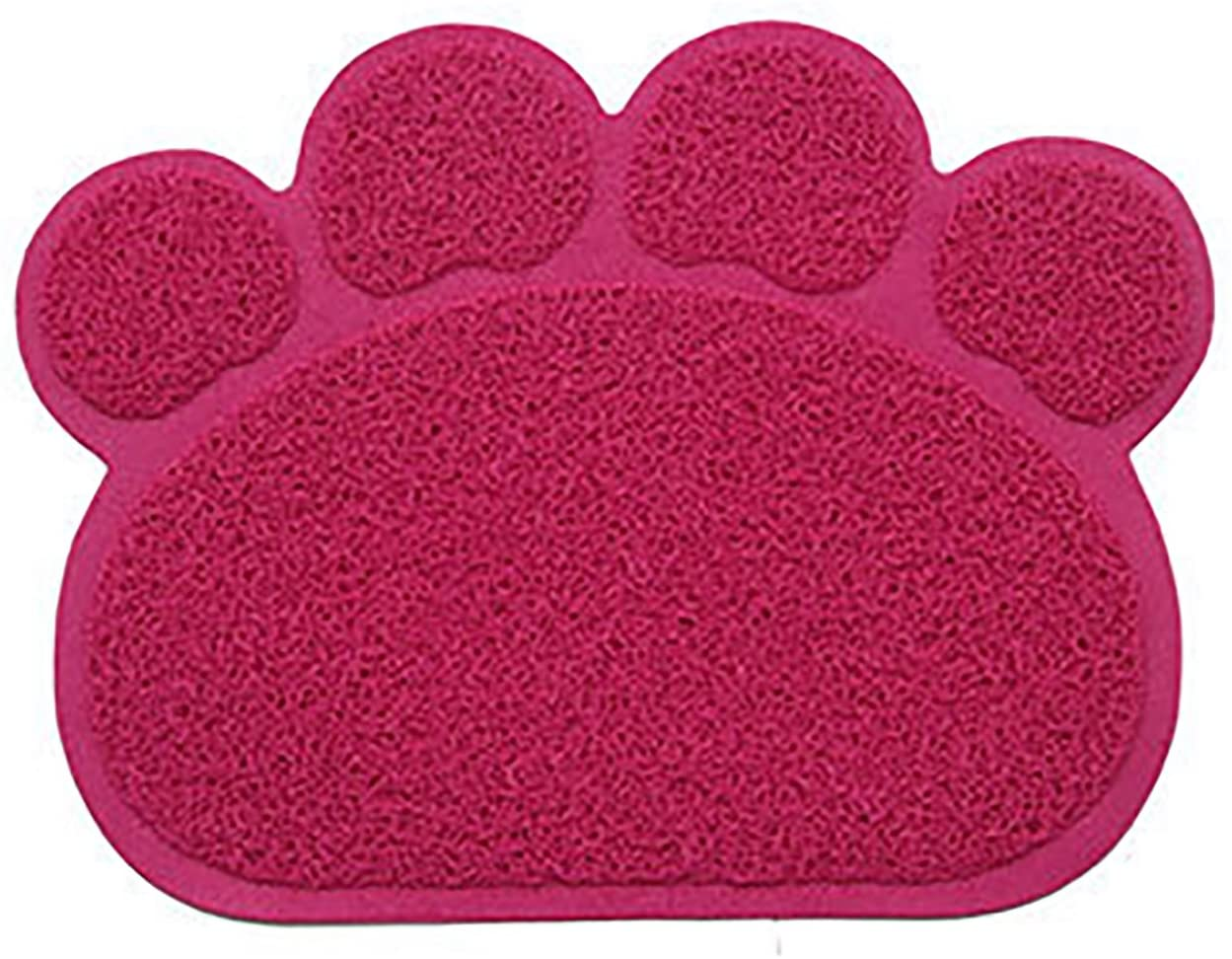 MaruPet Solid Paw Print Cat Litter Mat Non-Slip Pet Paw Shape PVC Mat Placemat for Dog&Cats 10.8