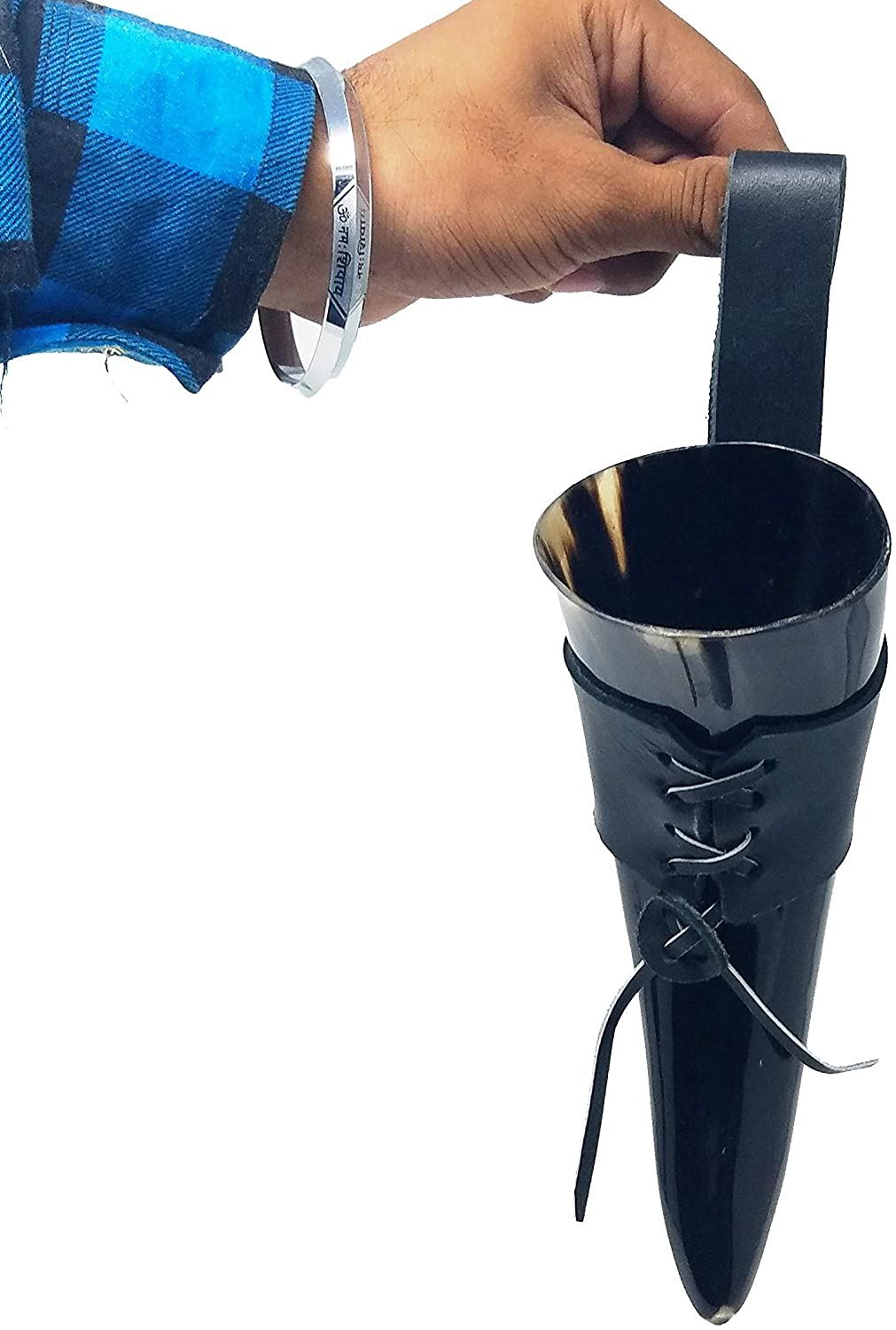 Buddha4all Handcrafted Authentic Viking Drinking Horn With Leather Holder Tankard for Beer Mead Ale Medieval Inspired Game of Thrones (Belt Holder)