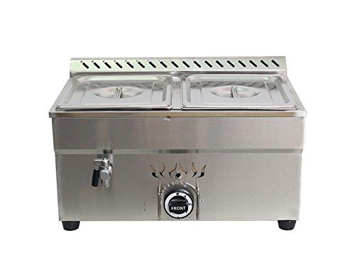 Intbuying! 2-Pan LP Gas Bain-Marie Buffet Food Warmer Steam Table 23''