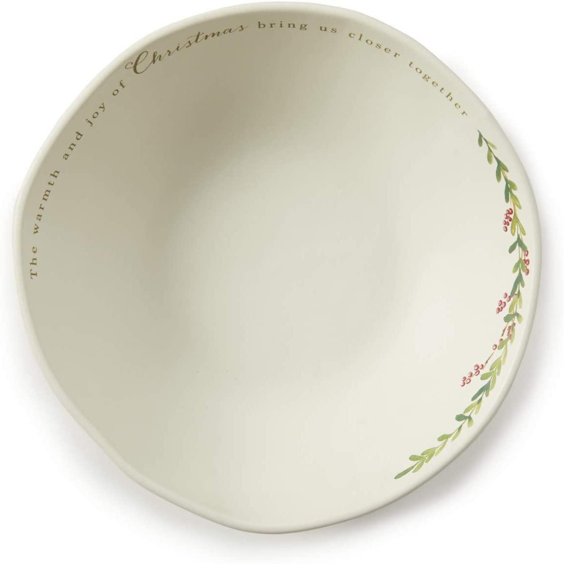 Warmth Greenery Glossy White 11 x 11 Ceramic Stoneware Holiday Serving Bowl