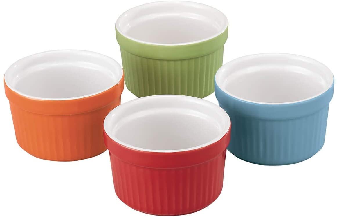 Porcelain Ramekins Set of 4 Assorted Colors by HMP
