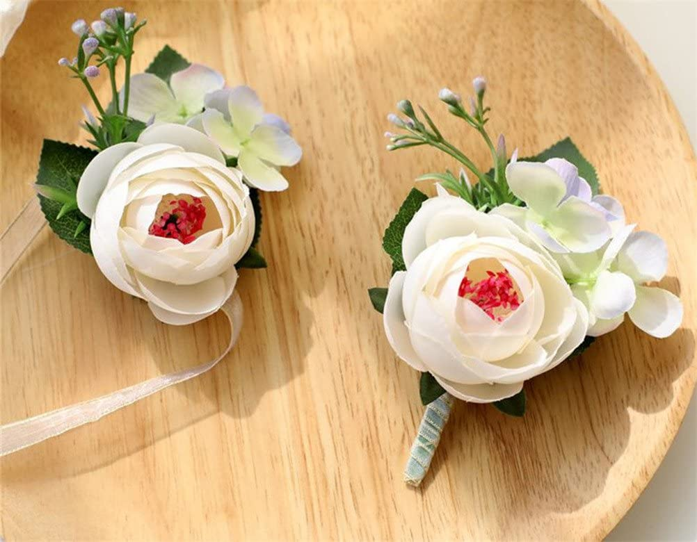 MOJUN Wrist Flower Corsages and Boutonnieres Set Tea-Rose Bud Wedding Flowers Accessories Prom Decoration, White