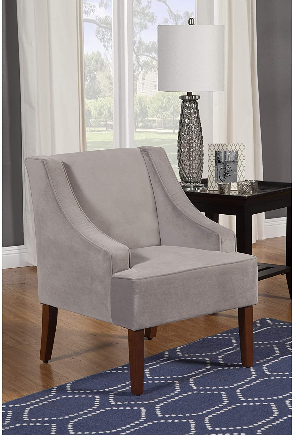 Lyric Dove Grey Velvet Swoop Arm Accent Chair Solid Transitional Foam Wood Includes Hardware
