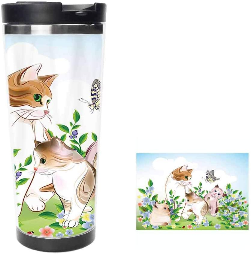 Cute Kittens in Flower Meadow Field Happy Cats Family with Butterfly Kids Cartoon PrintCoffee Cup,Drinking Cup, Female Male,Double stainless steel vacuum insulation,Thermos cup-14 oz-397ML