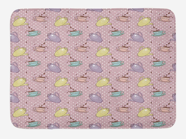Ambesonne Tea Party Bath Mat, Polka Dots Background with Teapots Teacups Retro Cartoon Style, Plush Bathroom Decor Mat with Non Slip Backing, 29.5
