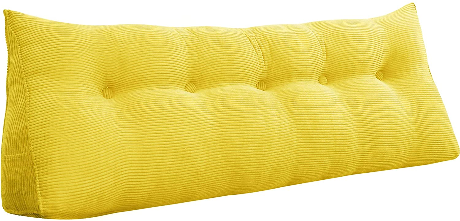WOWMAX Triangular Reading Pillow Large Bolster Headboard Backrest Positioning Support Wedge Pillow for Day Bed Bunk Bed with Removable Cover Yellow Queen