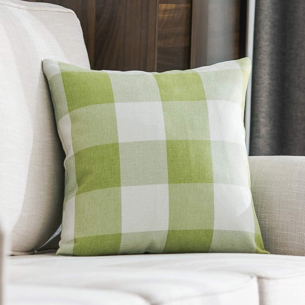 MIULEE Classic Retro Checkers Plaids Cotton Linen Soft Solid Green and White Decorative Throw Pillow Covers Home Decor Design Cushion Case for Sofa Bedroom Car 26 x 26 Inch 65 x 65 cm