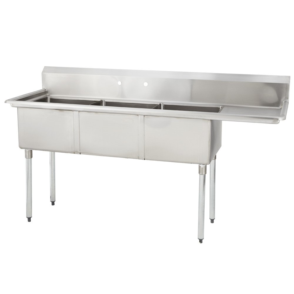 Fenix Sol 18S-3C18X18-R18 Three Compartment Stainless Steel Sink, Bowl: 18