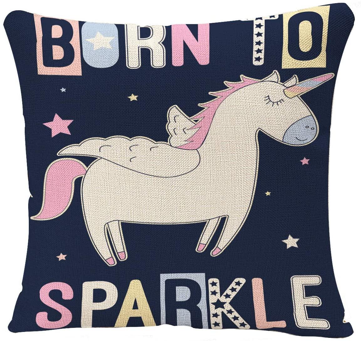 YGGQF Unicorn Throw Pillow Cover Born to Sparkle Animal Shine Slogan Cartoon Horse Star Rainbow White Decorative Pillow Cushion Cover Pillowcase 18 x 18 Inch Square Pillow Case
