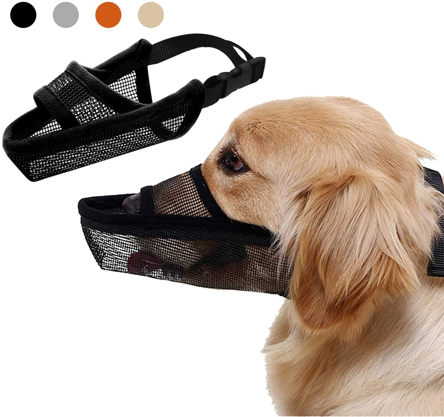 Adjustable Dog Muzzle for Small Medium Large Dogs, Mesh Breathable Pets Mouth Cover with Tongue Sticking Out, Soft Nylon Dog Mask for Anti-Biting Anti-Barking Licking