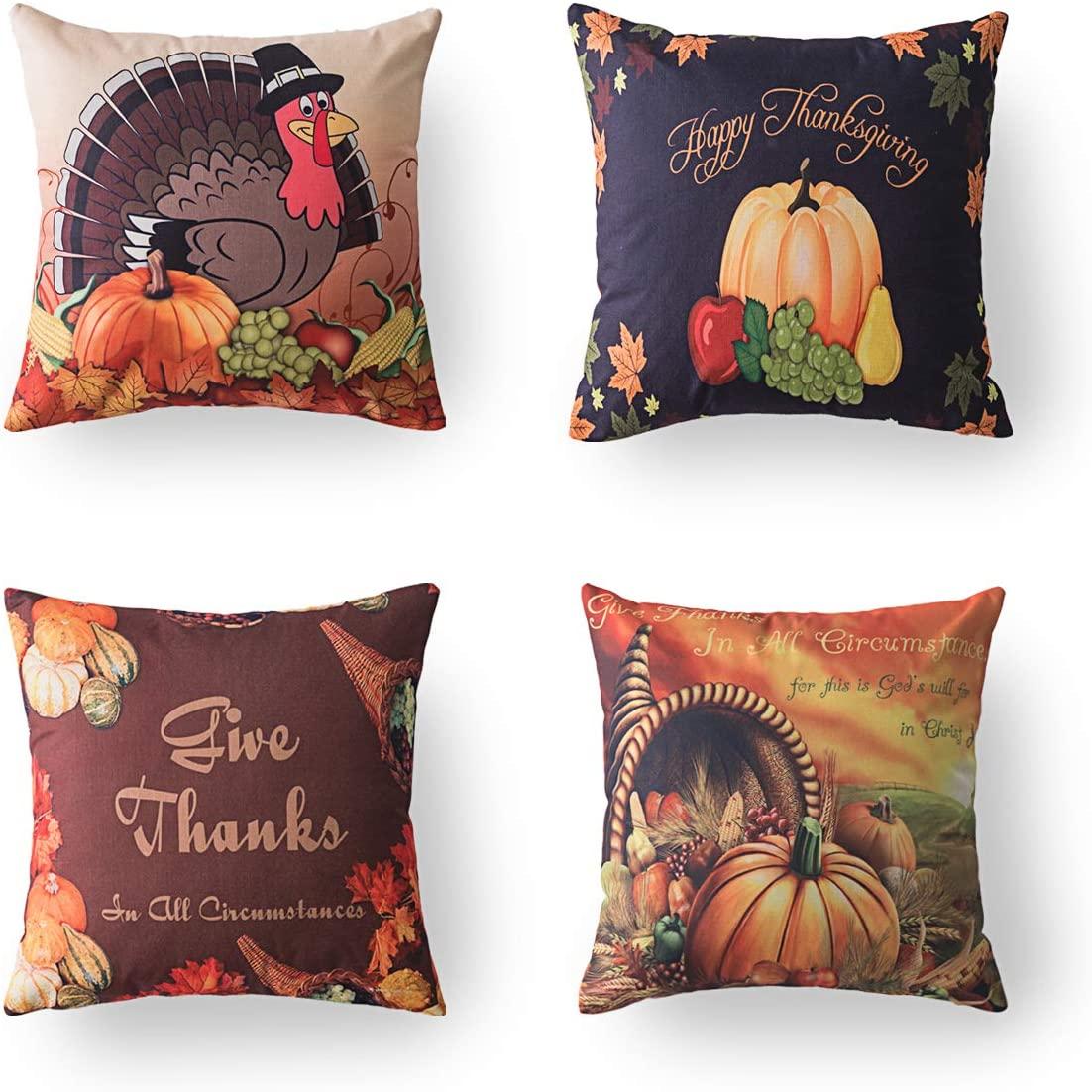 Xinrjojo 4 Pack Thanksgiving Fall Pumpkin Harvest Decorative Pillowcases Autumn Home Pillows Covers Cotton Linen 18x18 Inch