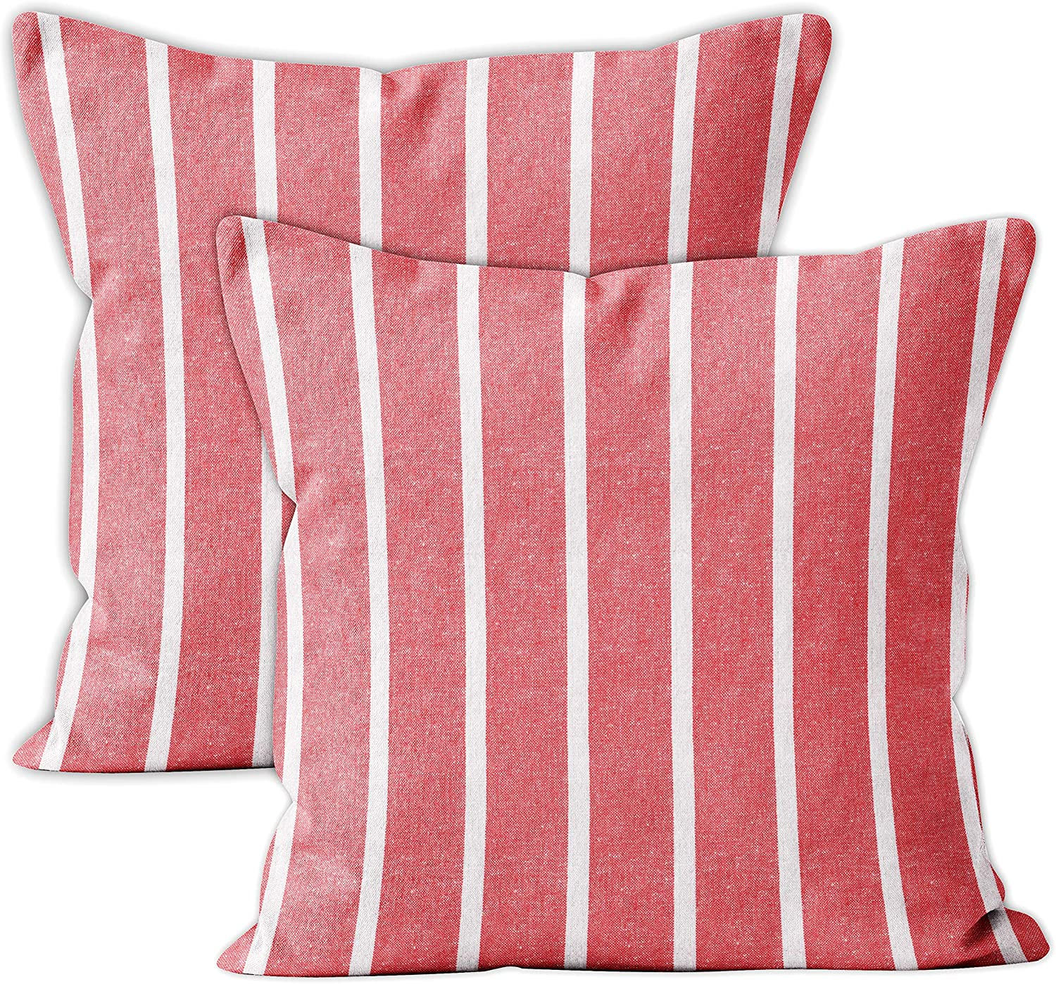 Encasa Homes Farmhouse Throw Pillow Cover 2pc Set - Roma Red Stripes - 18 x 18 inch Recycled Cotton Square Accent Decorative Cushion Cover for Couch Sofa Chair Bed & Home
