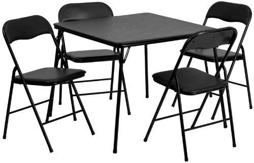 JAXPETY 5 Piece Black Folding Card Table and Chair Set,Card Table and Chairs Set