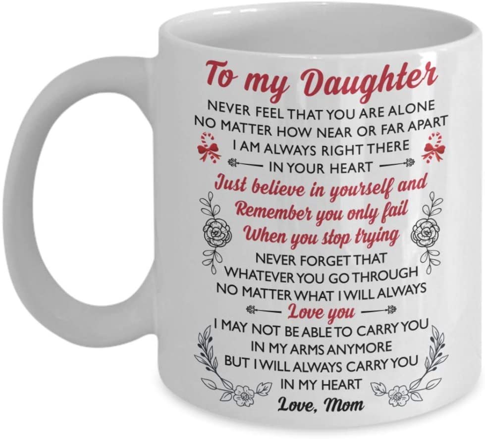 Dear Daughter With Love From Mom Mug - 11 Oz. White Mug Birthday Christmas Adult Celebrity Womens Day Gift Specially Designed For Daughter Children Niece Goddaughter