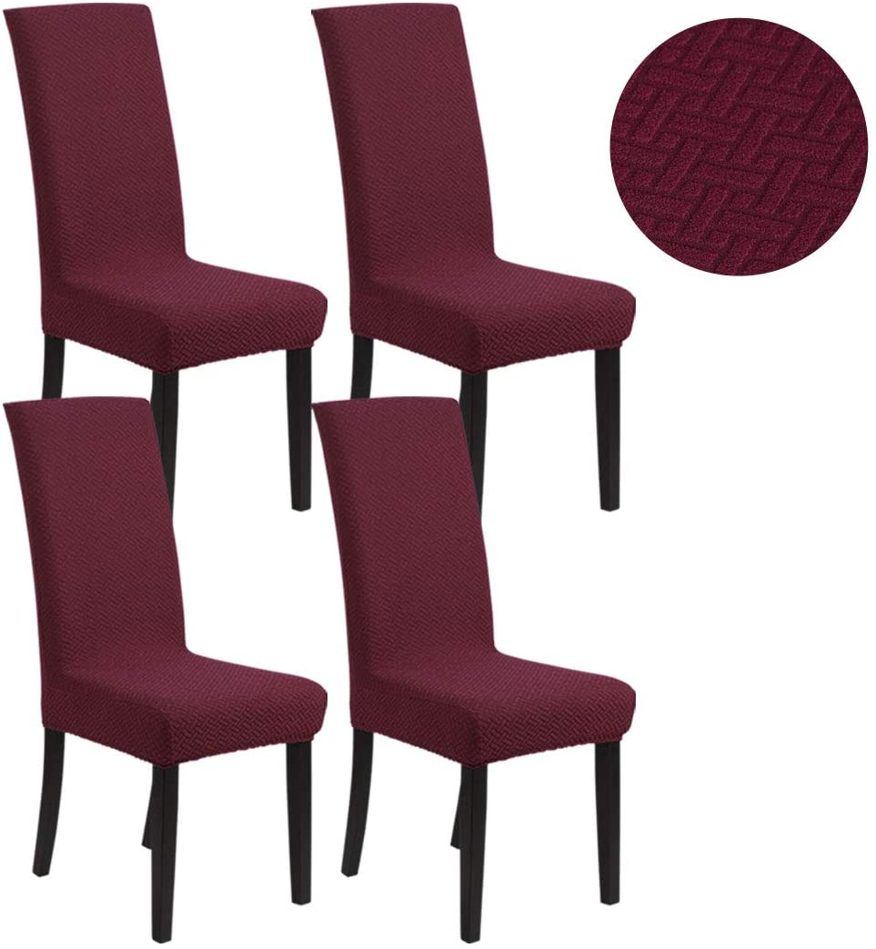 PiccoCasa Thicken Jacquard Knitted Dining Chair Slipcovers, Washable Soft Spandex Fabric Chair Cover Seat Protector for Home Hotel Ceremony Banquet Wedding Party Restaurant Burgundy 4pcs