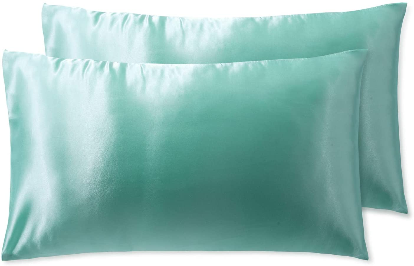 OSVINO Silky Satin Pillowcases for Hair and Skin 2 Pack Super Soft Breathable Pillow Covers with Envelope Closure, Turquoise, Queen 20x30