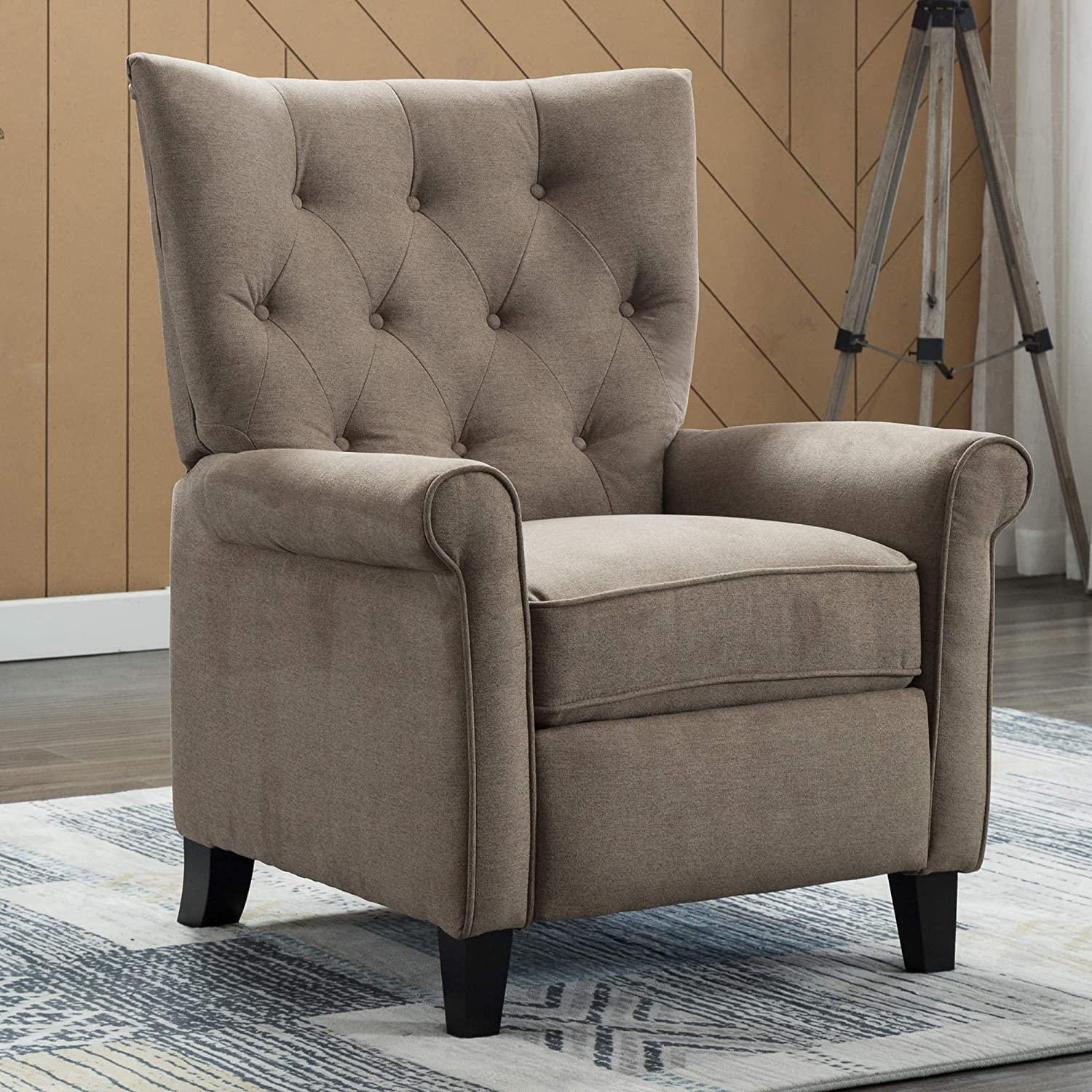 EBELLO Push Back Recliner Accent Chair for Living Room Elegant Roll Arm Chair for Bedroom (Khaki)