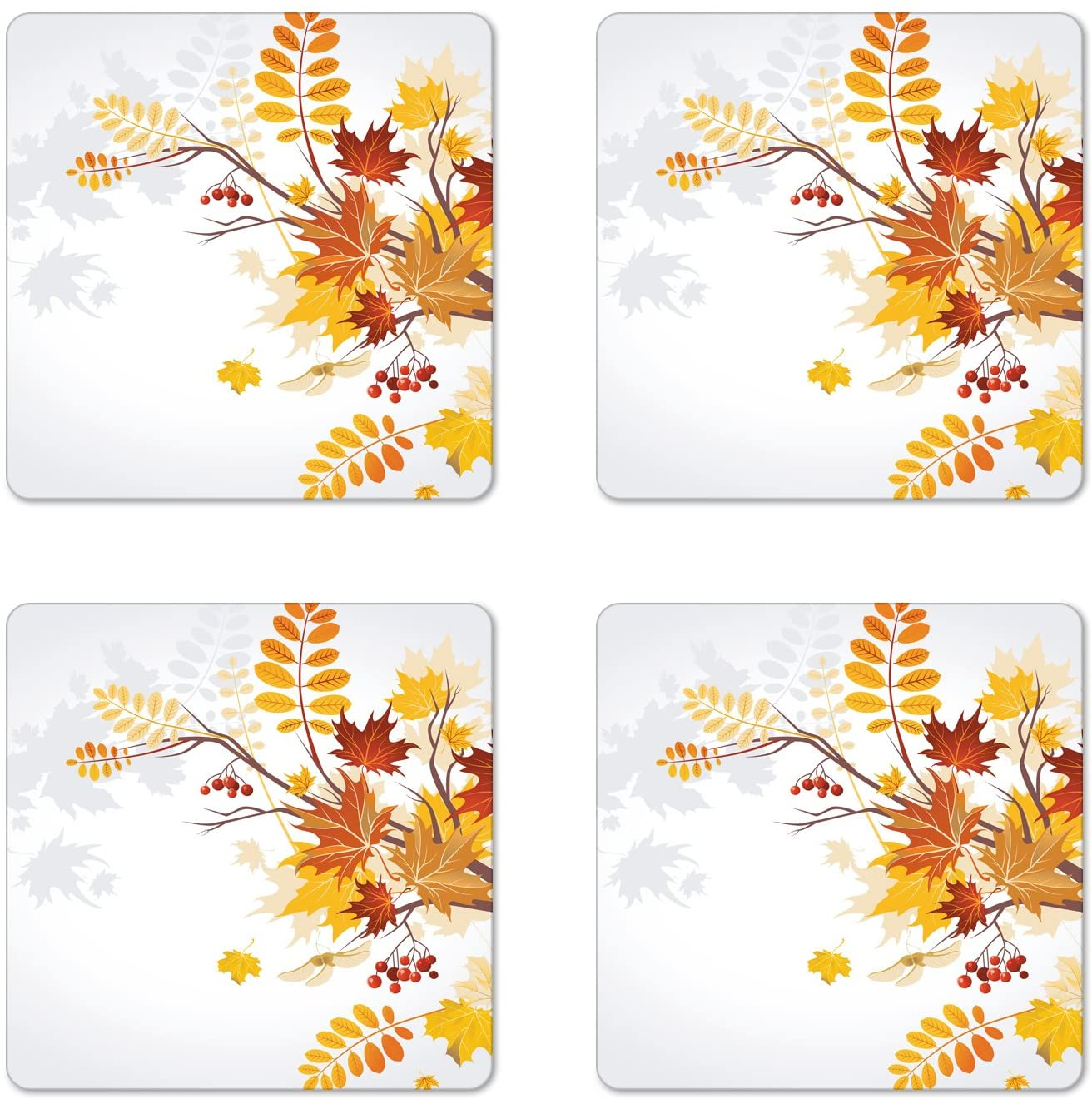 Lunarable Fall Coaster Set of 4, Various Faded Fall Leaves Bouquet November Environment Foliage Romantic Graphic, Square Hardboard Gloss Coasters, Standard Size, Orange Yellow