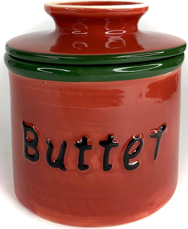 BonCera, Stoneware Butter Crock, Handmade Porcelain Butter Keeping in Water - French Butter Crock Holder - Sunflower Red