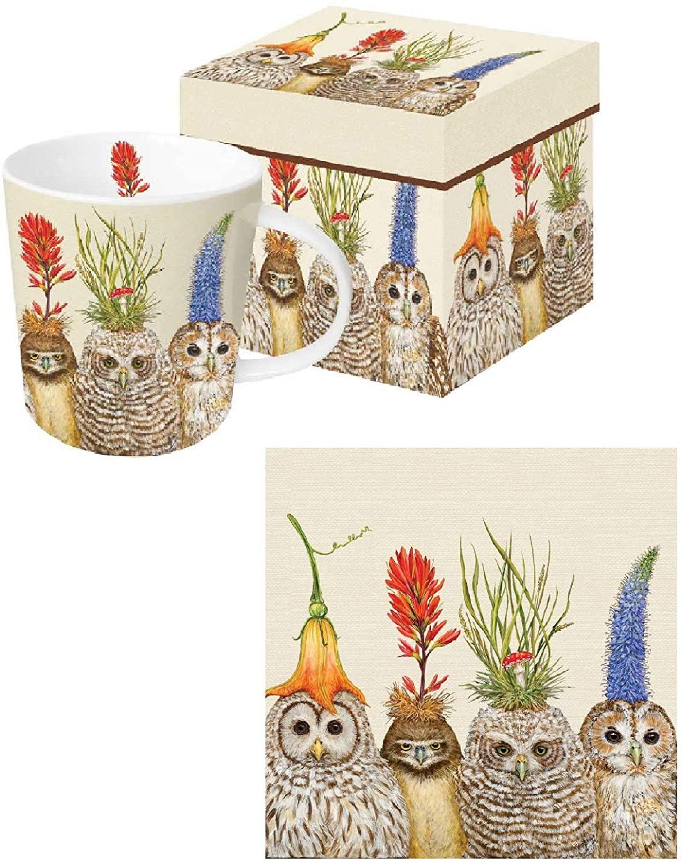 PPD Big Hat Night Owls Mug in Decorative Gift Box bundle Matching Paper Napkins