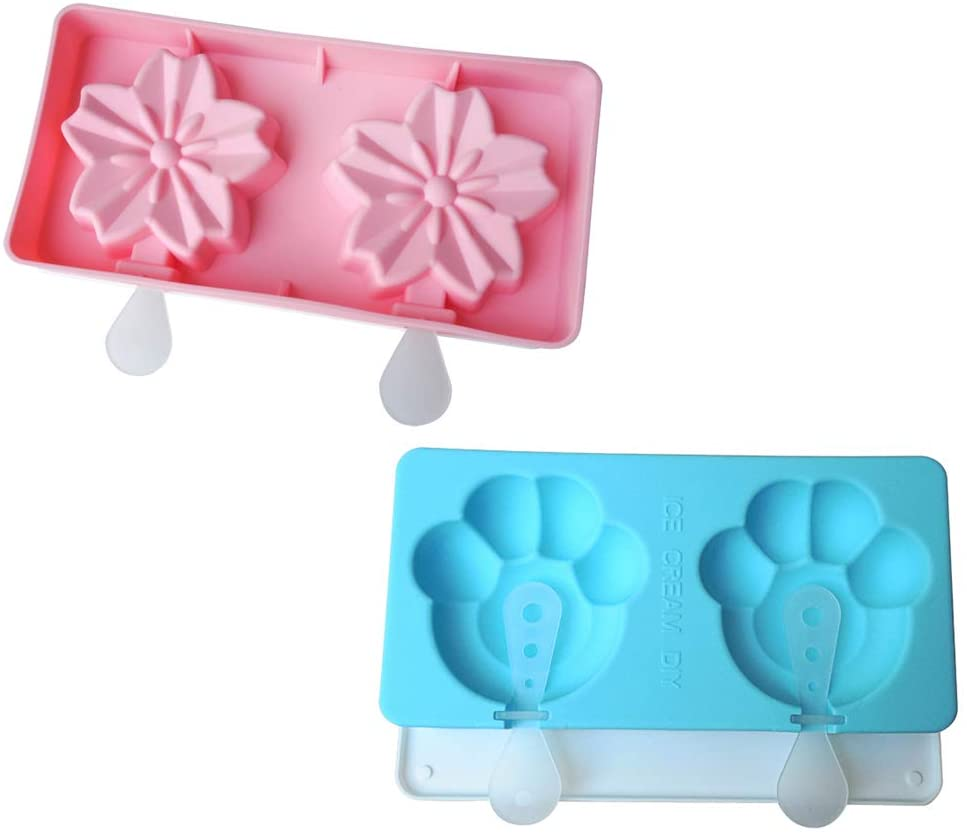 NEW Ice Cream Maker Mold Cats Claws Ice Cream Mould Summuer Sakura Cherry Blossoms Silicone Popsicle Frozen Tray