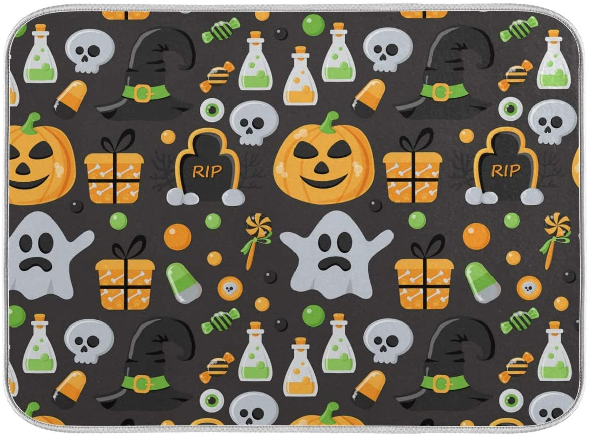 Dish Drying Mat 18x24 in for Kitchen Counter Halloween Pumpkin Lantern Skull Ghost Candy Gift Dish Mat Drying Kitchen Mat Large 2040225
