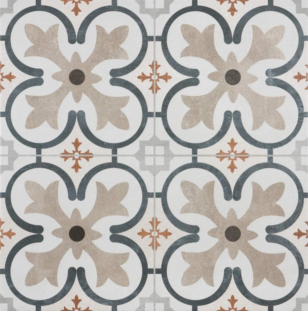 18x18 Vavien Pattern Tile Made in Spain Genuine Ceramic Cream Color