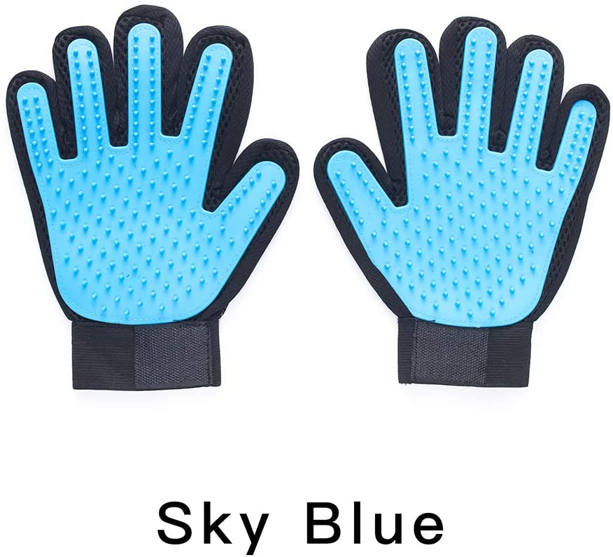 Pet Grooming Gloves (Sky Blue, Blue, Black and Pink) Gentle Deshedding Brush Gloves,Soft Pet Hair Remover Gloves for Dogs, Cats and Horses, Convenient and Efficient for Long and Short Fur