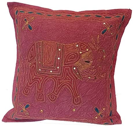 4 Pcs Set Cushion Covers Hand Embroidery Sequin Indian Sari Throw Pillow Cotton Fabric- 16 x 16 Rustic Red Bohemian - Perfect for Any Occasion, Christmas Holidays Decor.