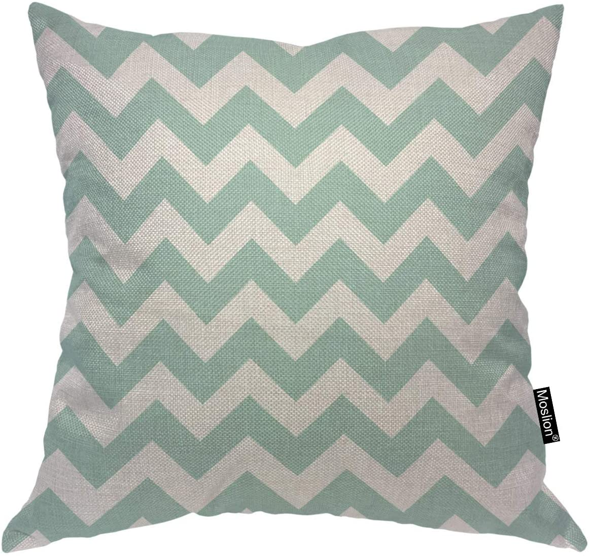Moslion Chevron Throw Pillow Covers Geometrical Zigzag Stripes Ocean Wavy Stripes Blue White Pattern Square Pillow Case Cushion Cover for Home Car Decorative 18x18 Cotton Linen