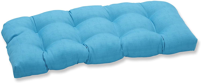 Pillow Perfect Outdoor/Indoor Veranda Turquoise Tufted Loveseat Cushion, 44