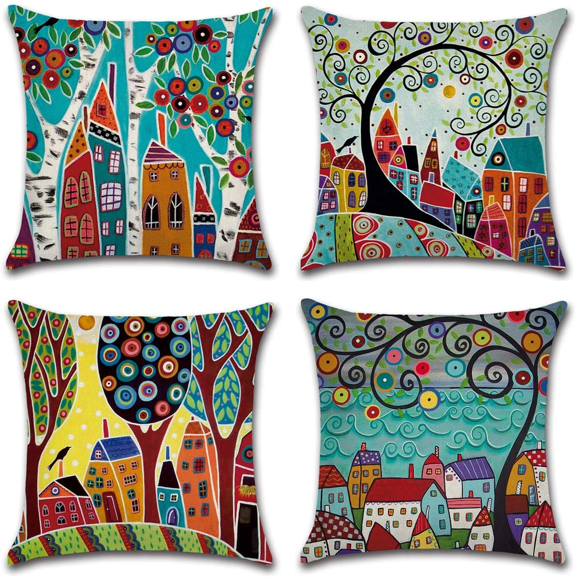 Throw Pillow Covers 18x18 Set of 4 Painted Trees Square Farmhouse Pillow Covers for Home Decorative-Soft Cotton Linen Outdoor Cushion Covers Pillow Cases for Couch Sofa Bedroom Living Room Car