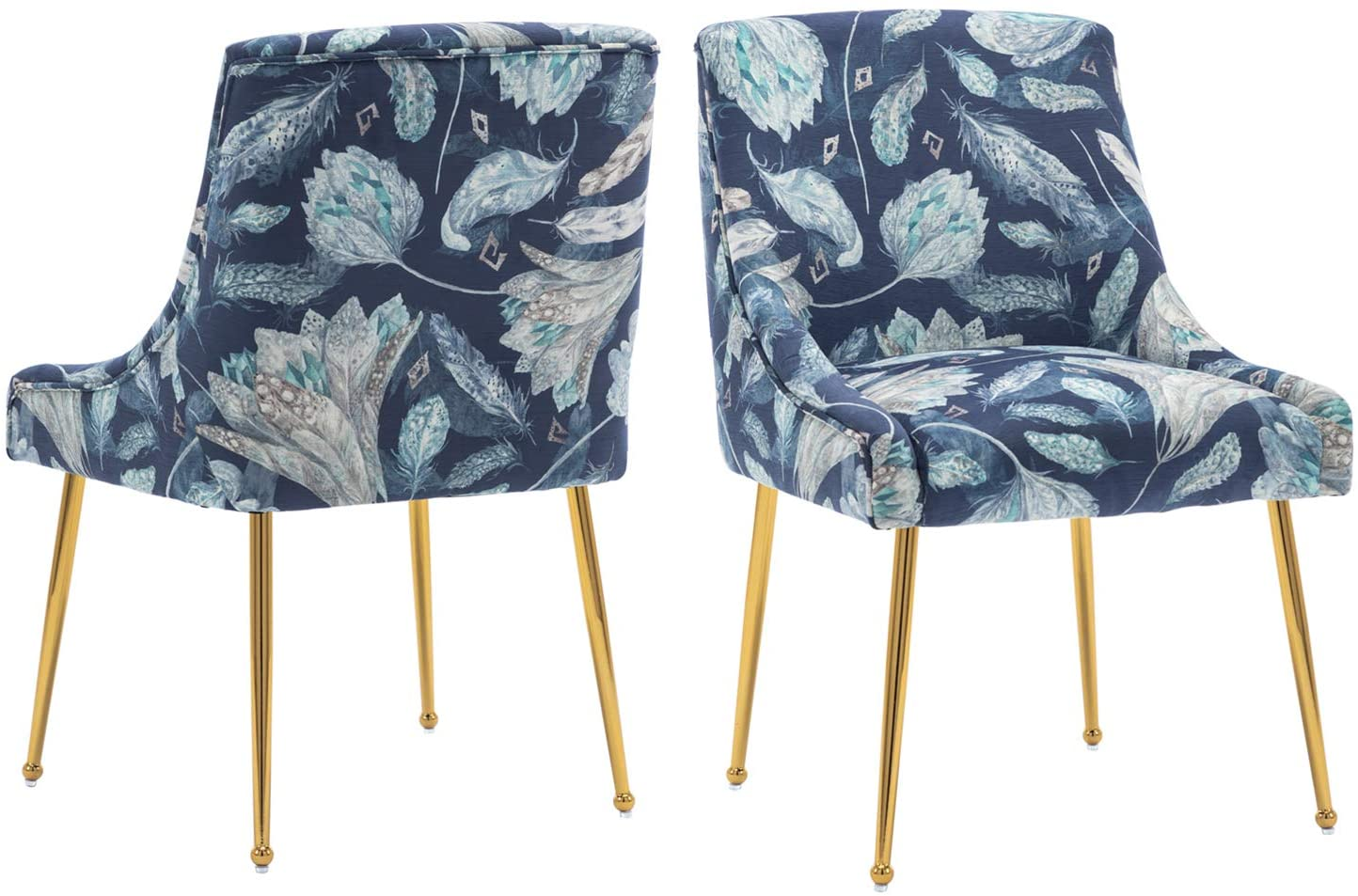 CIMOTA Modern Dining Chairs Set of 2, Tufted Upholstered Velvet Chair Comfy Accent Chair with Brass Metal Legs for Living Room,Vanity,Bedroom (Retro Blue Flower)