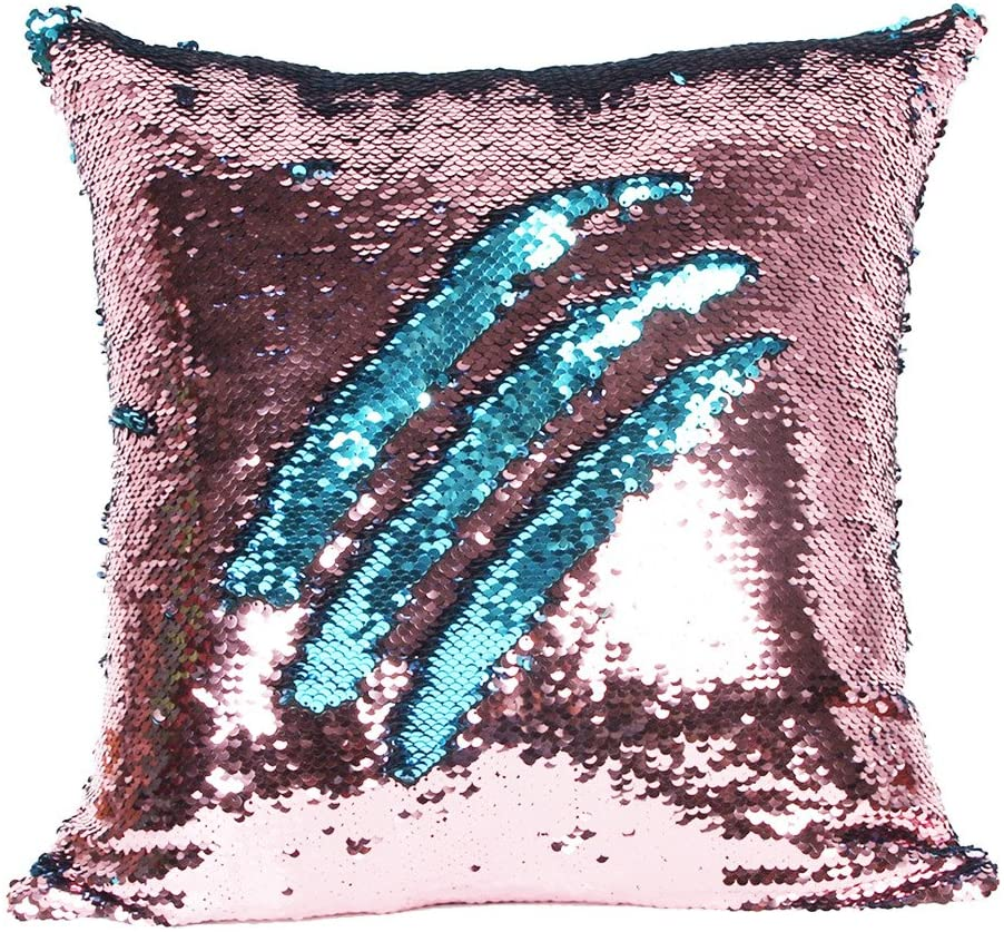 Hi-Shop 16 X 16 Inch Reversible Sequins Mermaid Pillow Cases Change Color Couch Mermaid Throw Pillow Cover(Acid Blue and Pink)