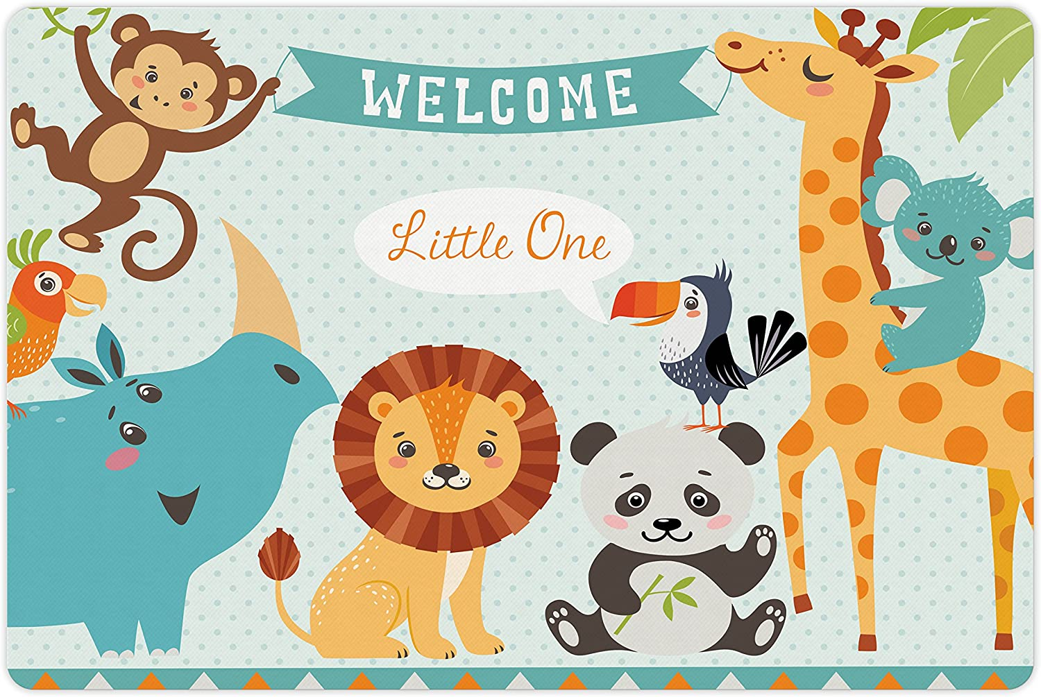 Lunarable Baby Shower Pet Mat for Food and Water, Welcome Little Poster Design with Lion Panda Toucan Koala Birds and Monkey, Rectangle Non-Slip Rubber Mat for Dogs and Cats, Multicolor