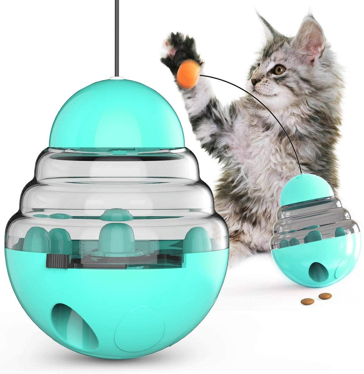 JOYPET Cat Tumbler Treat Ball Toy Interactive Cat Toys Pet Food Dispenser Puzzle Toy Slow Feeder Ball