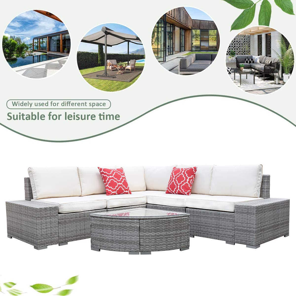 COU Outdoor Wicker Patio Furniture Sofa Set,6pcs All-Weather PE Rattan Porch Sectional Sofa Furniture Set with Glass Table & Cushions & 2 Pillows (Grey)