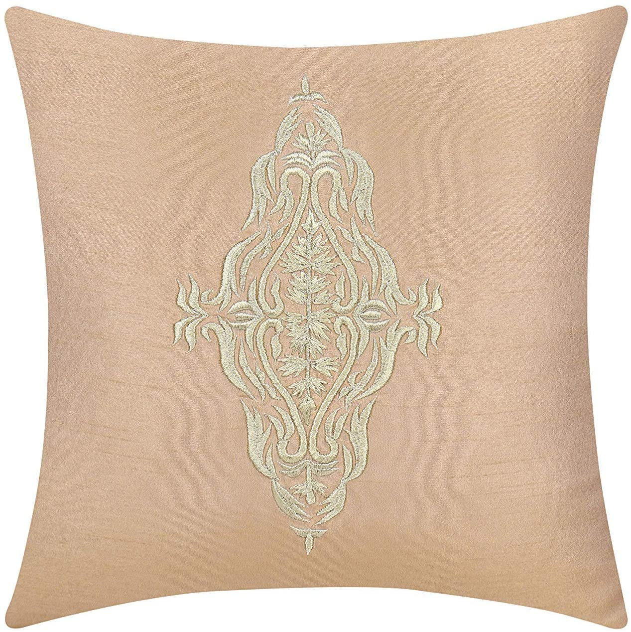 The White Petals Gold Decorative Pillow Cover (Embroidered Damask in Gold, 20x20 inch, Pack of 1)