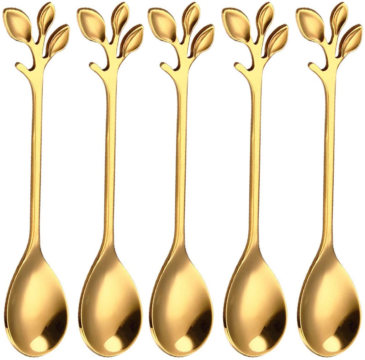 DERCLIVE Stainless steel spoons, leaf-shaped handle dessert coffee tea spoon kitchen accessories (5 pieces)