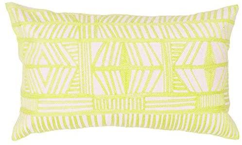 Aitliving Embroidered Throw Pillow Cover Accent Chair Lumbar Pillowcase 12x20inch Decorative Bolero Pine Lime Geometric Boho Tribal Design Cushion Shell 1pc Sunny Lime 30x50cm