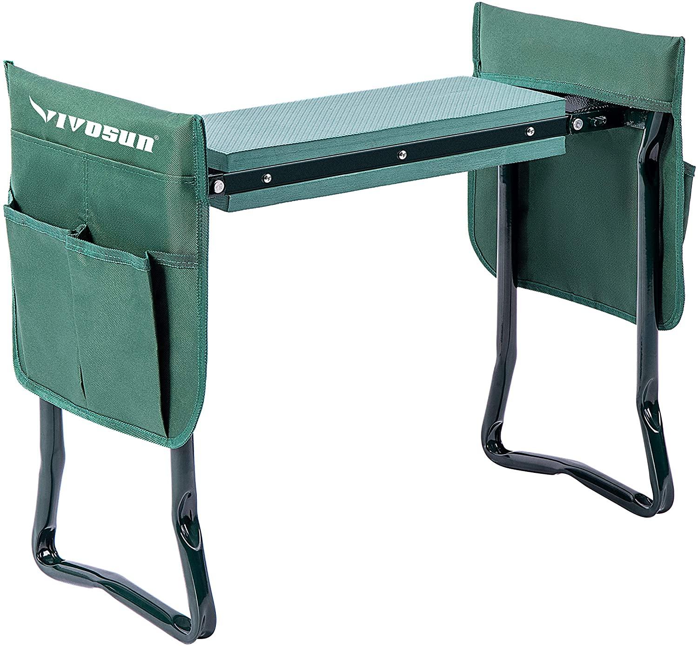 VIVOSUN Portable Garden Kneeler Seat Foldable Garden Bench with EVA Foam Pad 2 Tool Bags for Outdoor Gardening, Green
