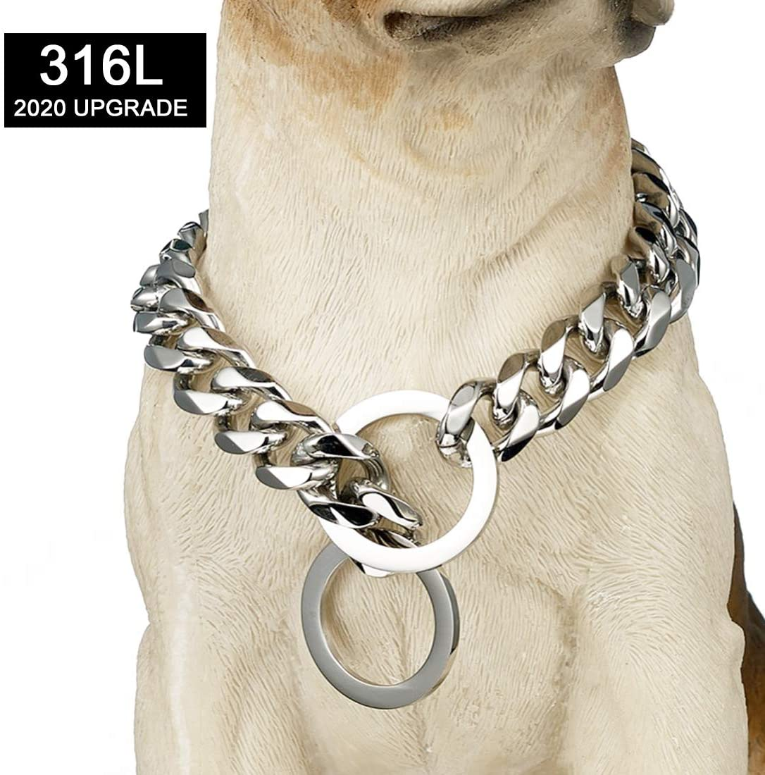 Tobetrendy Chain Dog Training Choke Collar Silver Cuban Link Dog Collar 316L Stainless Steel Metal 15mm Heavy Duty Slip Collar for Medium Large Dogs(16-26in)