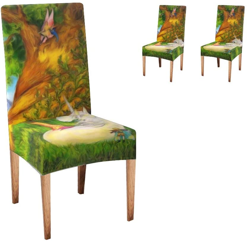 XIUCOO Custom Stretch Chair Covers Protector Forest Unicorn Comfort Soft Seat Covers Slipcovers for Dining Room Party(Set of 2)
