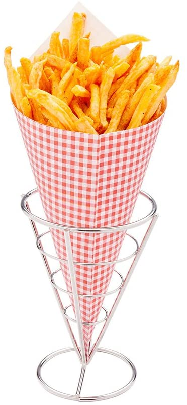 Small Food Cone Holder, Fry Paper Cone Holder, Snack Cone Holder - Stainless Steel - 4