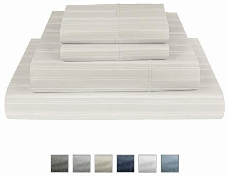 Fisher West New York Ivory Twin Stripe Cotton Rich 4 pc Sheet set-1000 TC Breathable Wrinkle Resistant-Extra Deep Pocket with TightFit 1-Inch Elastic-Fits Mattress Upto 17