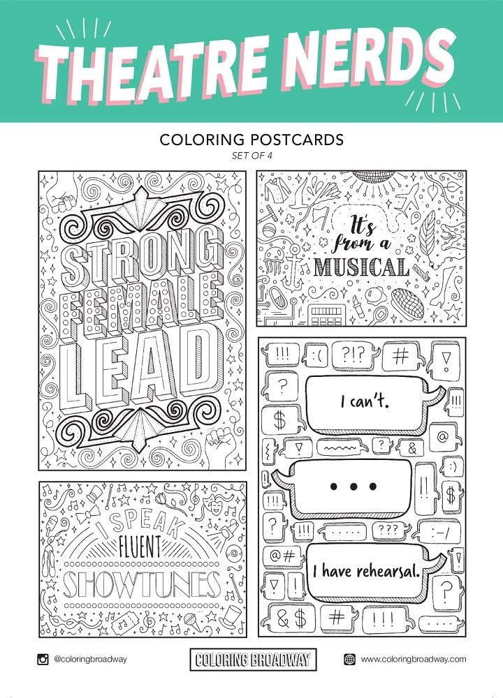 Theatre Nerds - Coloring Postcards - Hand-drawn illustrations by Coloring Broadway. Printed on matte card stock. (5