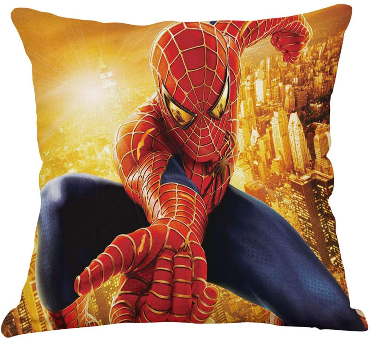 TE YANG Spider Man Pillow Cover Marvel Anime Pillow Case Soft Cotton Linen Cushion Cover Superheroes Decorative Pillow Cases for Sofa Bedroom Car 18x18 Inches(No Pillow Core)